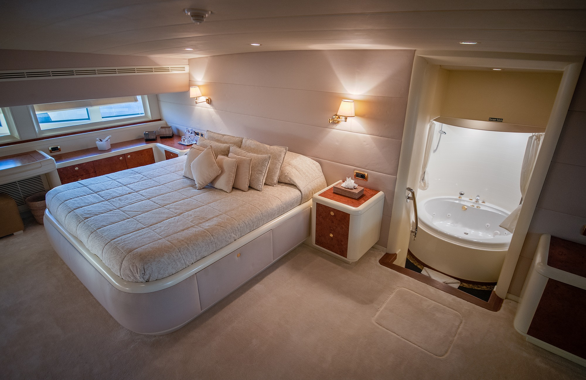 master suite is also located on the main deck